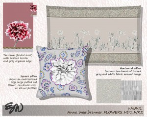 Flower motifs on fabric products