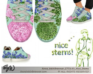 3 views of a sneaker design includes peonies, succulents and a blue small flower