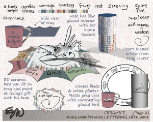 Further details on lettering as a motif applied to ceramic products